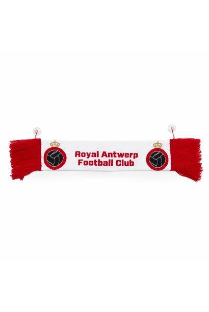 RAFC Mini auto sjaal - Wit met Rode franjes