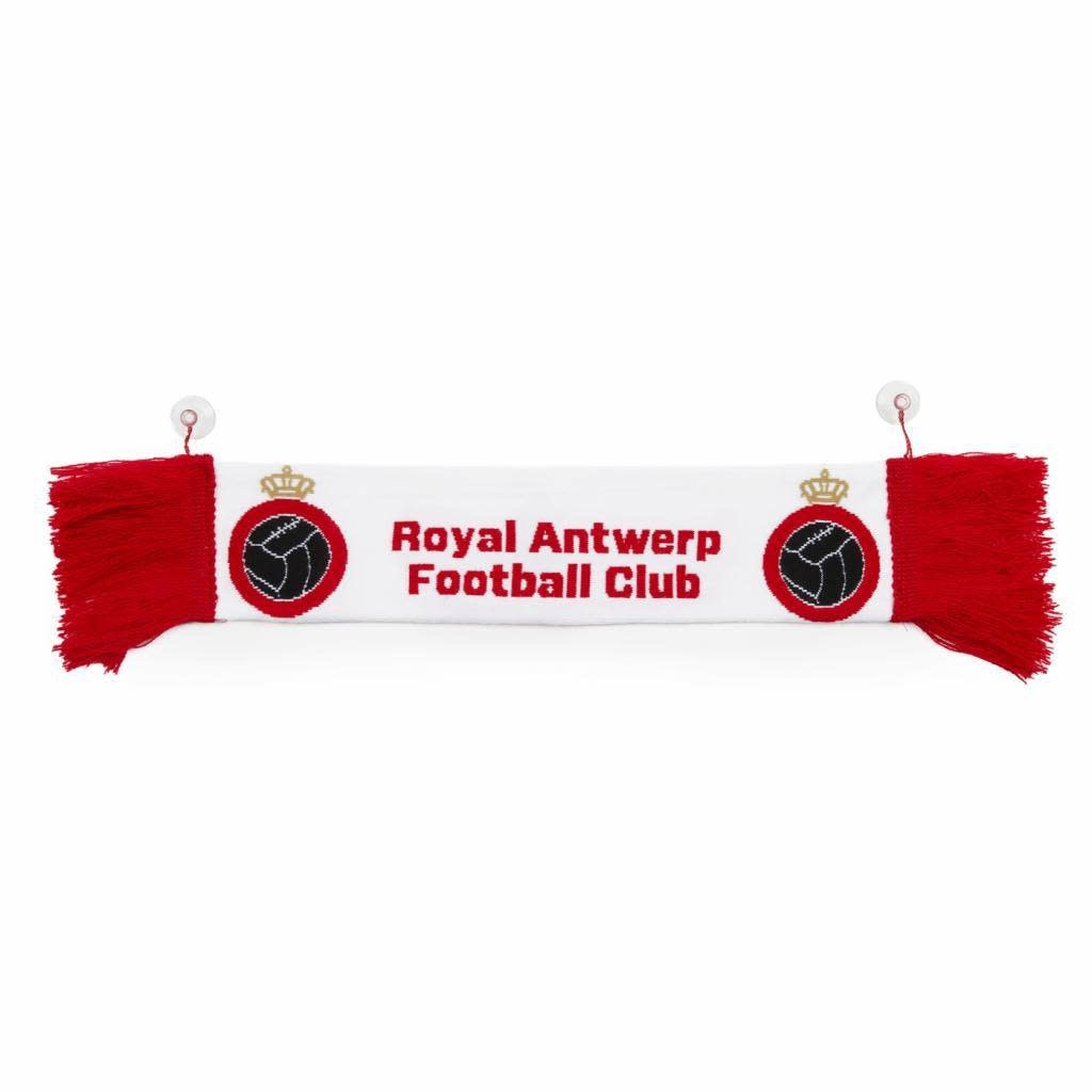 RAFC Mini auto sjaal - Wit met Rode franjes-1