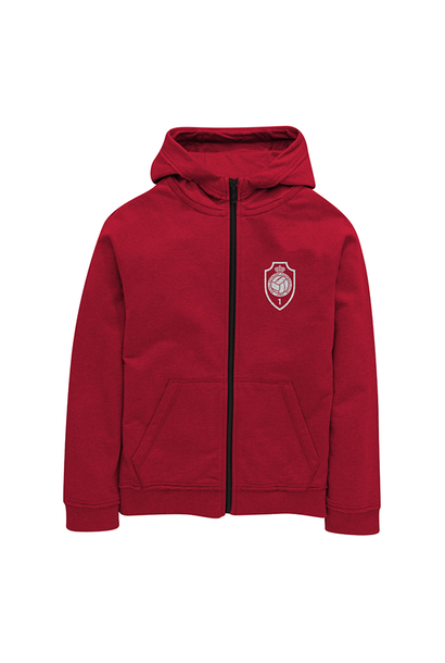 RAFC - Zip hooded sweater kids red - RAFC logo
