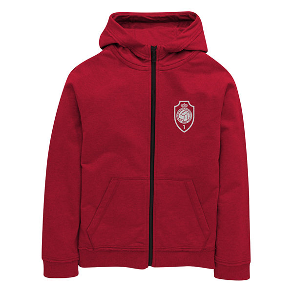 RAFC - Zip hooded sweater kids red - RAFC logo-1