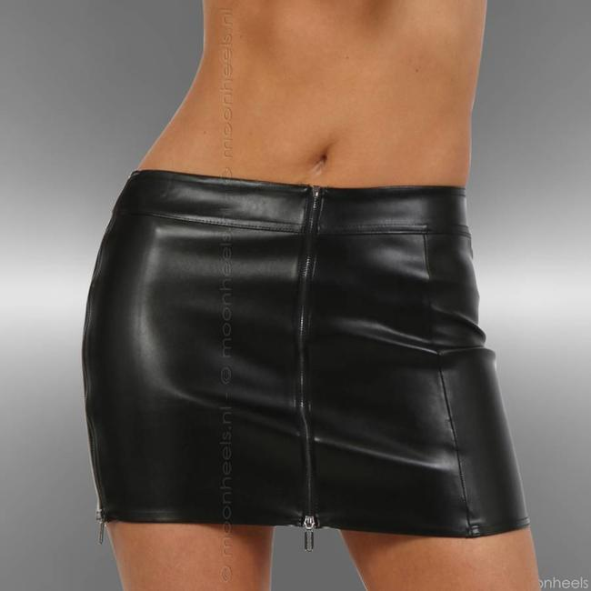 Skirt Stretch Artificial Leather black 4 Zippers
