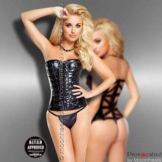 "Provocative Black leatherlook corset ""Vixen"""