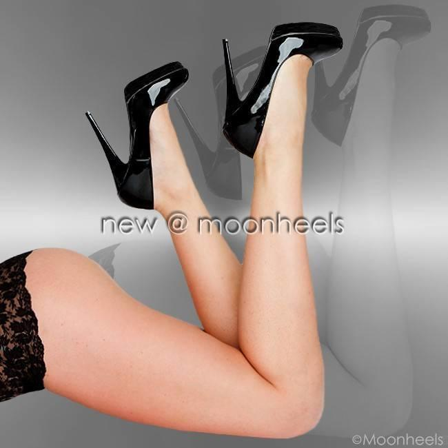 Black patent high heels with platform