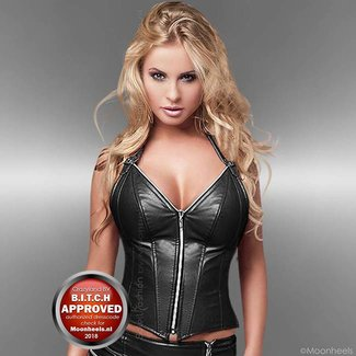 Soleil Fashion Corset of Black faux Leather