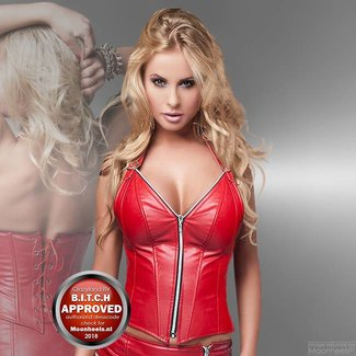 Soleil Fashion Corset Red Faux Leather