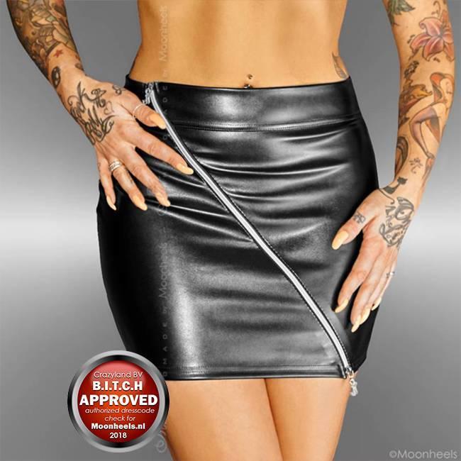 Noir Handmade Verleidelijke stretch rok met diagonale rits