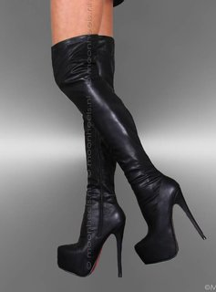 Red Sole leatherlook overknee boots