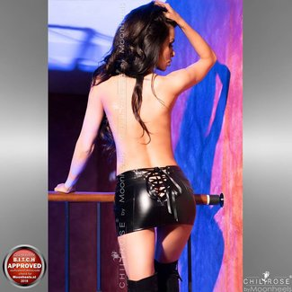 Mini skirt in black faux leather with lacing