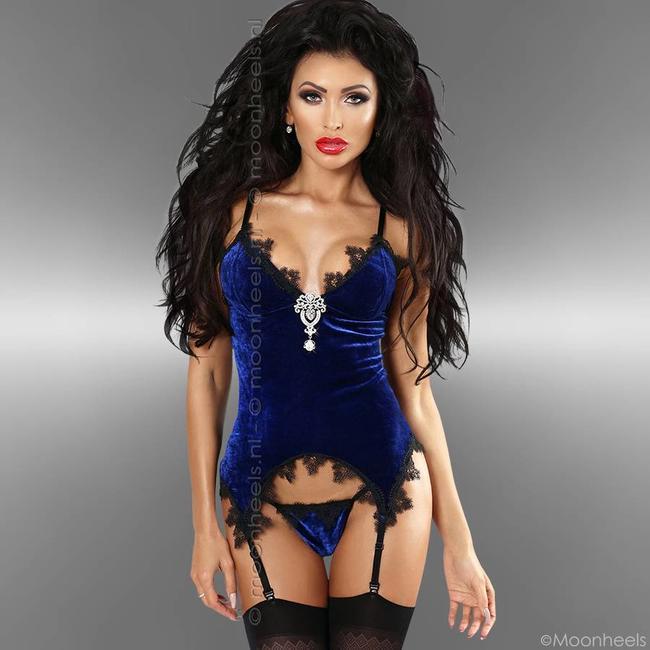 Chique blauw corset met bijpassende string