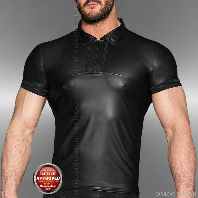 Leather polo shirt with collar, zipper and short sleeves
