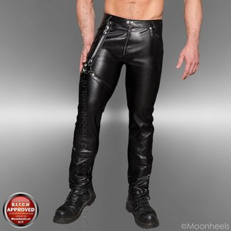 Black leather pants with adjustable leg harness