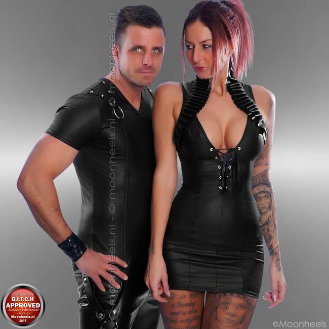leatherlook black dress with low back and collar - Copy