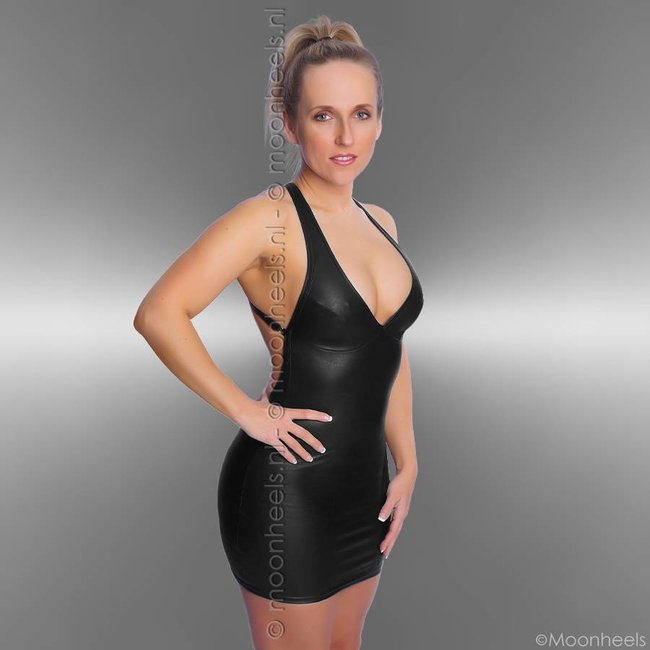leatherlook black dress with low back and collar - Copy - Copy - Copy