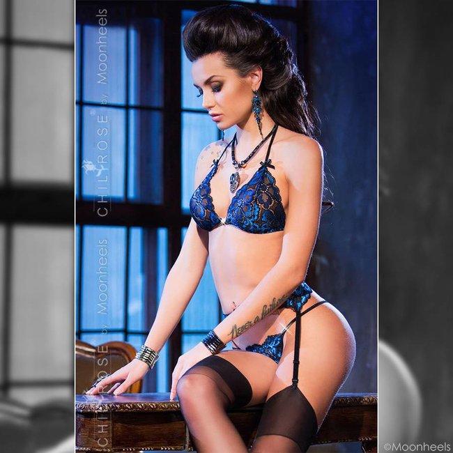 3-delige luxe saffier blauwe lingerie-setje