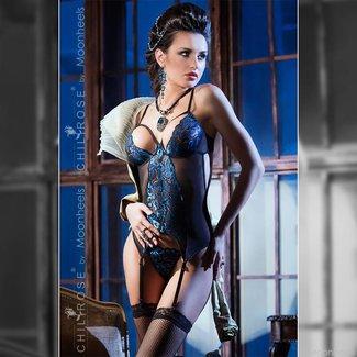Prachtig saffierblauw korset met string van zijdezacht kant