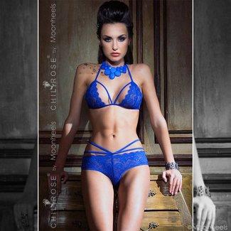 Chilirose 2-delige chique  blauwe lingerie-set