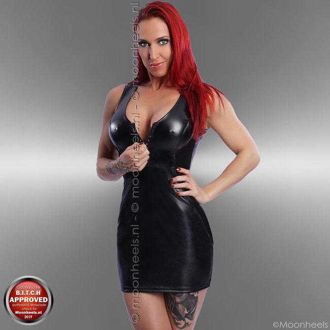 "Black leather dress with chic ""black-rhinestone"" décolleté zipper"