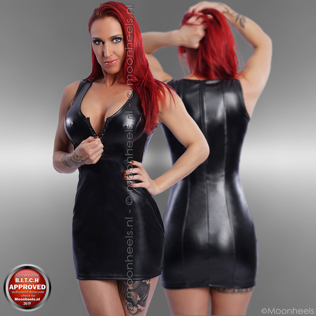 New style leatherlook dress with strass zipper