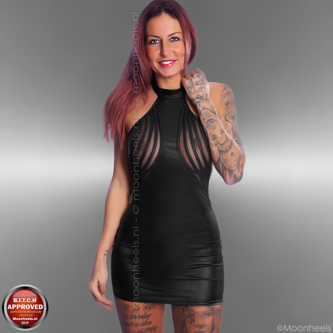 leatherlook black dress with low back and collar - Copy - Copy