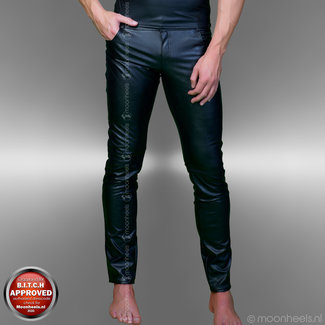 leather men's pants, black