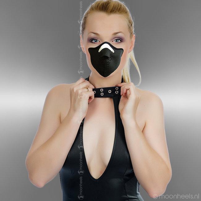Stoer zwart Neopreen (rubber) face masker