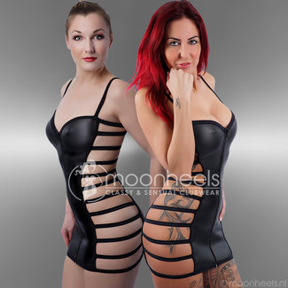 Kinky Rubber Dress with 3 zipper at the frontside