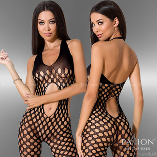 Exciting black bodystocking with open belly and back