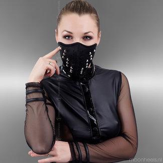 Stoer Neopreen (rubber) party face masker met studs