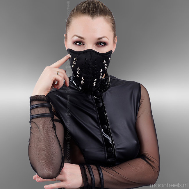 Tough Neoprene (rubber) party face mask with studs