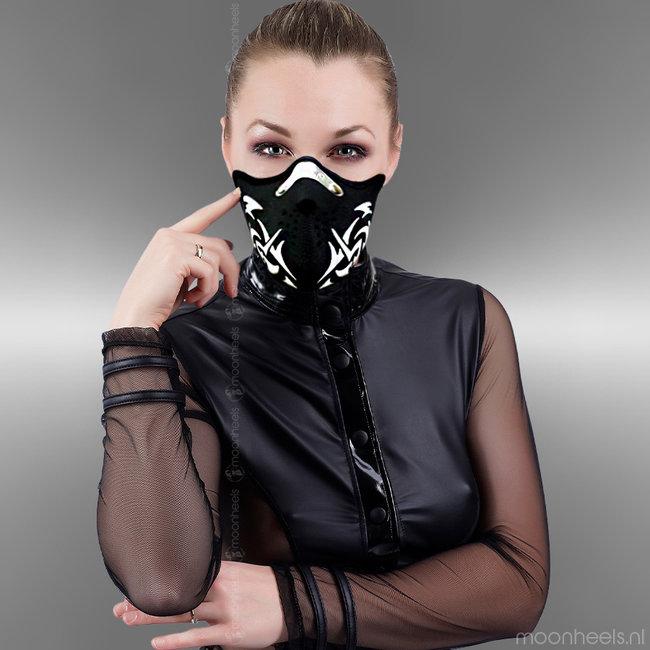Stoer Neopreen (rubber) fetish face masker in  Tribal stijl