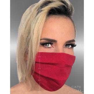 Stoffen mondkapje, 2-laags, rood/roze, oor-elastiek