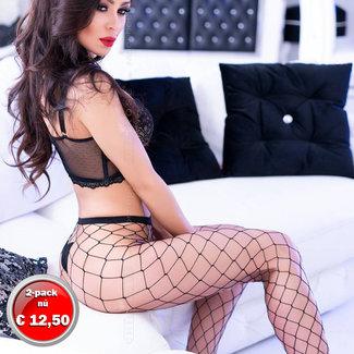 . Mesh tights black, coarse mesh, 2-pack set