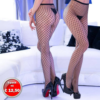 Mesh tights black, 2-pack set