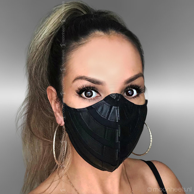 Fabric mouth mask in leather look design