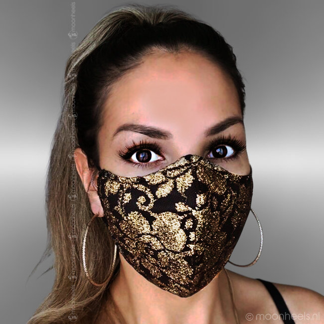 Fabric mouth mask in gold-colored lace design