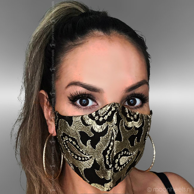 Fabric mouth mask in gold-black design