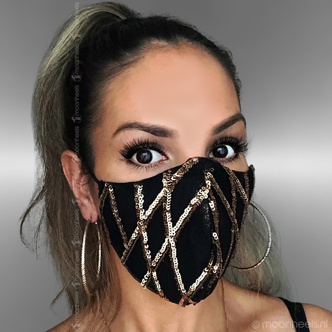 Fabric mouth mask in gold sequin design