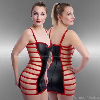 "Kinky Rubber (Neopreen) jurkje  ""Breezy"" Red Line  met open zijkant"
