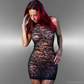 ". Transparent lace dress for seductive ""see-through"" effect"