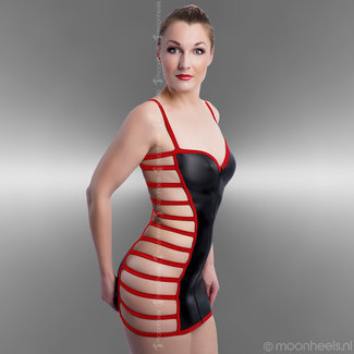 Kinky Rubber Dress with 3 zipper at the frontside  - Copy