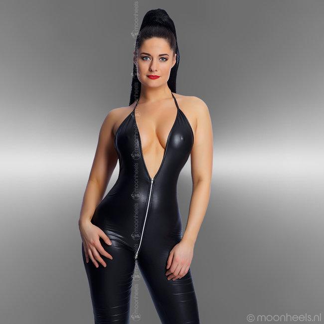 Classy wet look catsuit