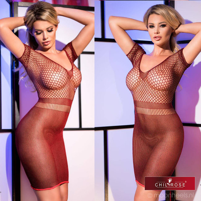 Rood transparant lingerie jurkje