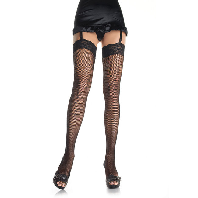 Fishnet Stockings with lace trim