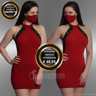 . Red party dress with FREE matching mouth mask
