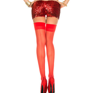 Red Seamed Stockings With Elastic Band