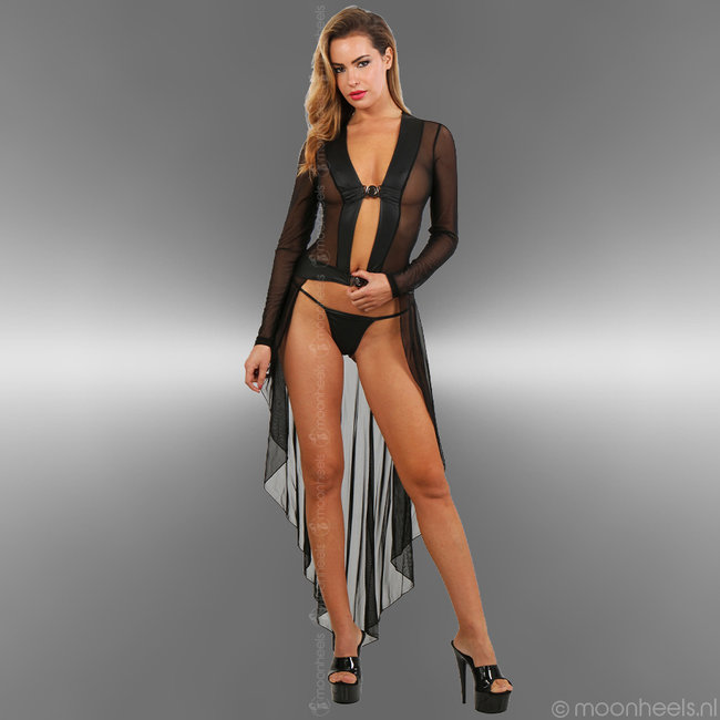 Verleidelijke transparante lingerie jurk met string