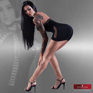 Chilirose Spannende zwarte naadloze clubwear jurk