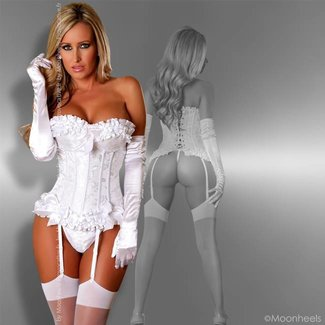 Provocative Classy White Burlesque corset in Moulin Rouge style