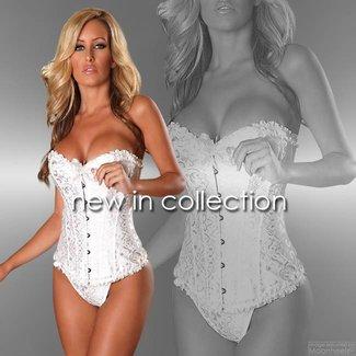 "Provocative ""Sens de Femme"" white Burlesque corset with matching thong"