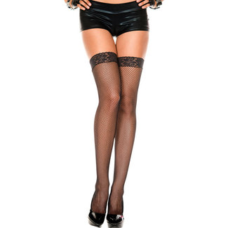 Music Legs Fine Mesh Stockings With Lace - Black